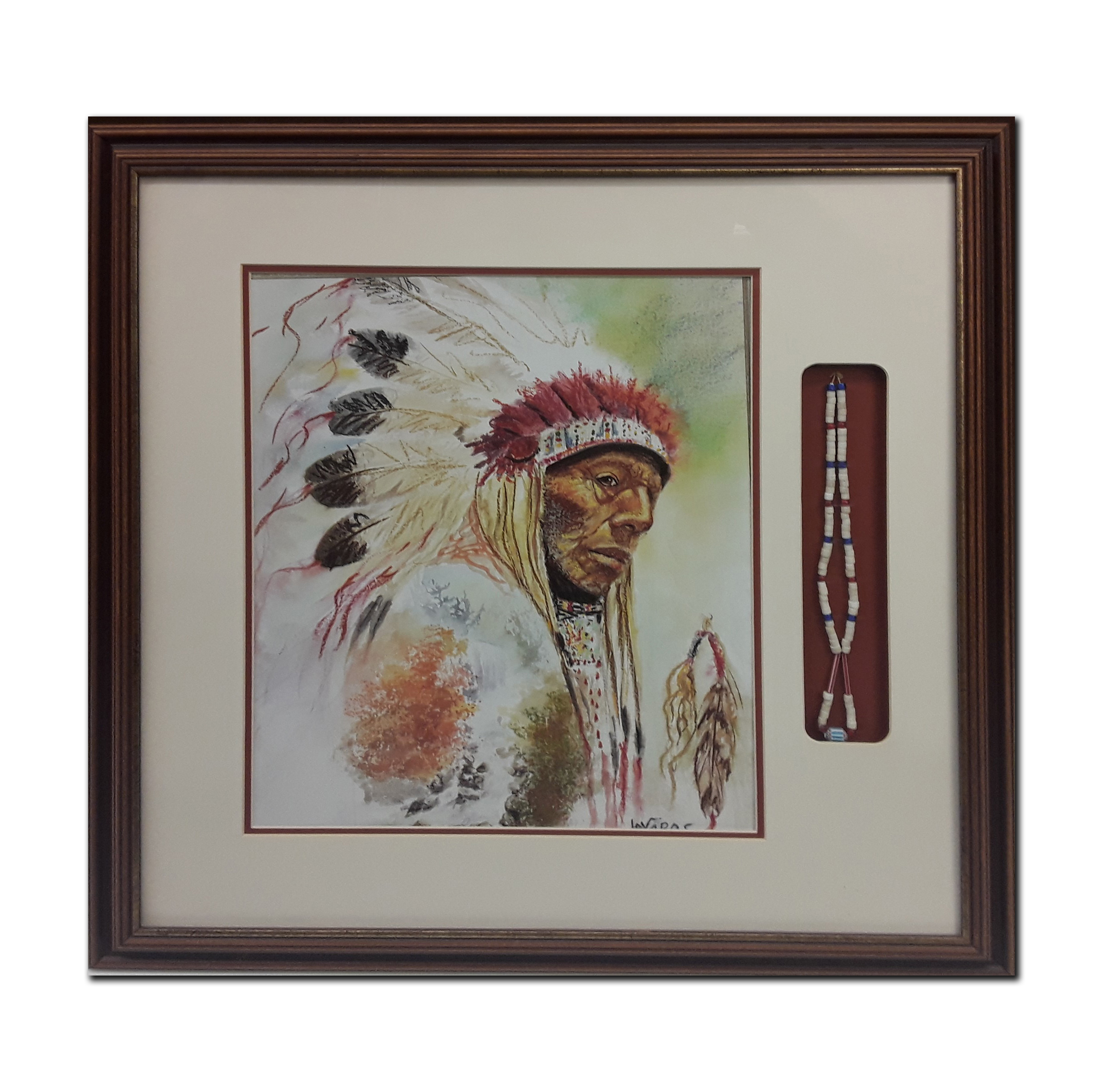 Native American Native American Themed Framed Print With Accompanying Necklace (Art and Artifacts)