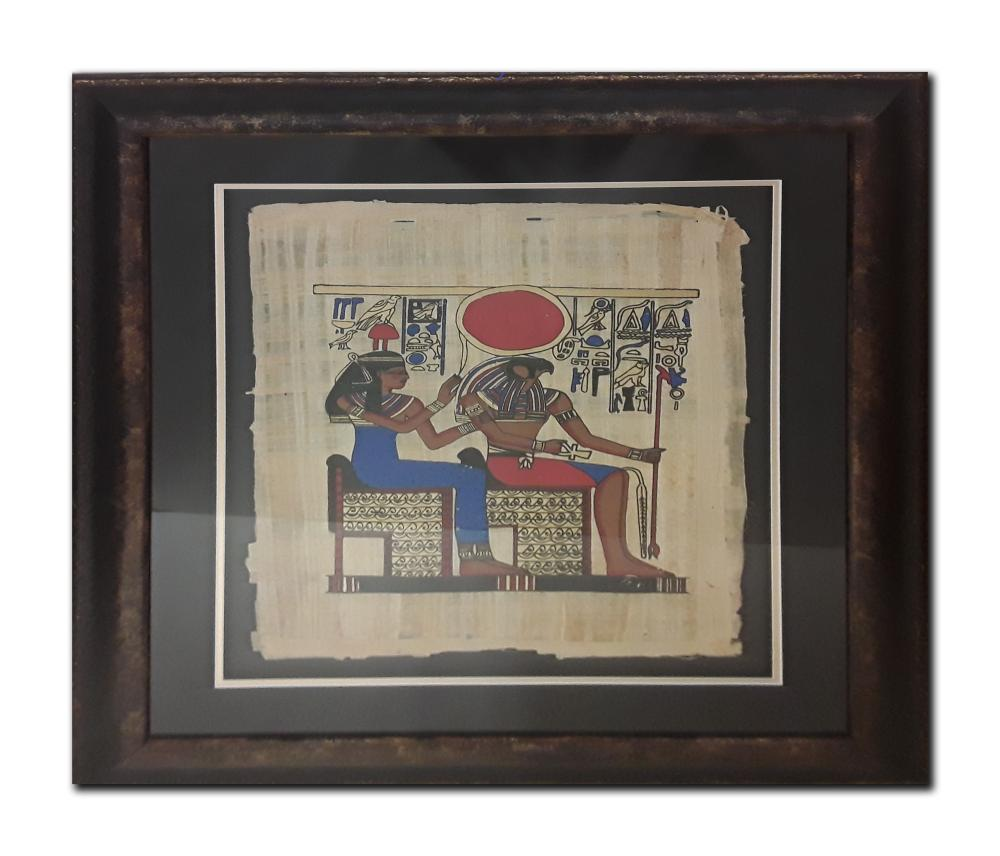 Egyptian Print on Papyrus Paper in Stunning Frame