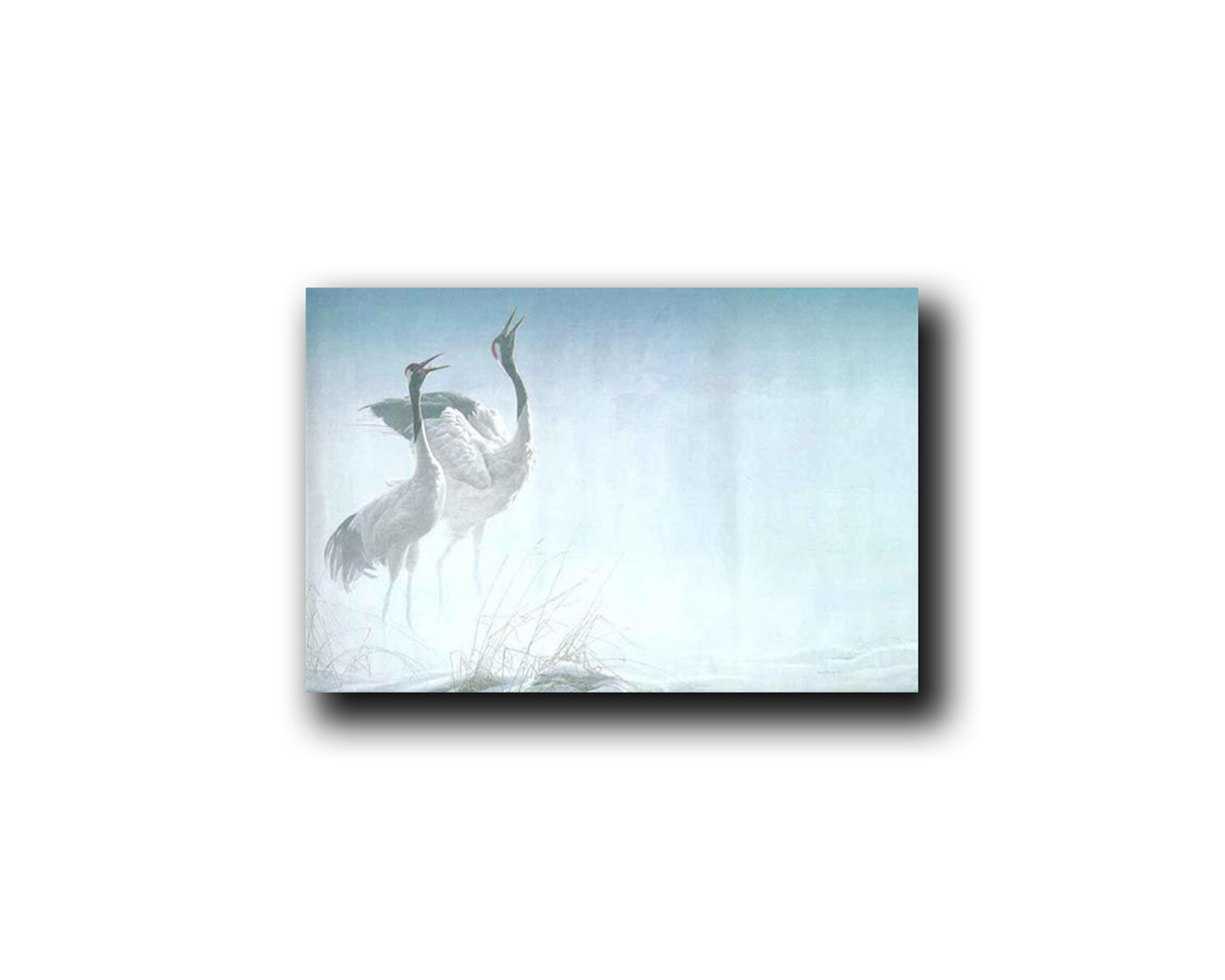 """Robert Bateman's """"Cries Of Courtship- Red-Crowned Cranes"""" Limited Edition Canvas Showstopper"""