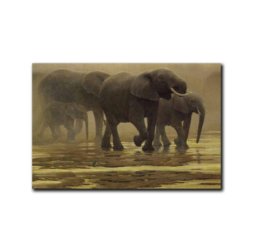 """Robert Bateman's """"By The River- Elephants"""" Limited Edition Canvas Showstopper"""