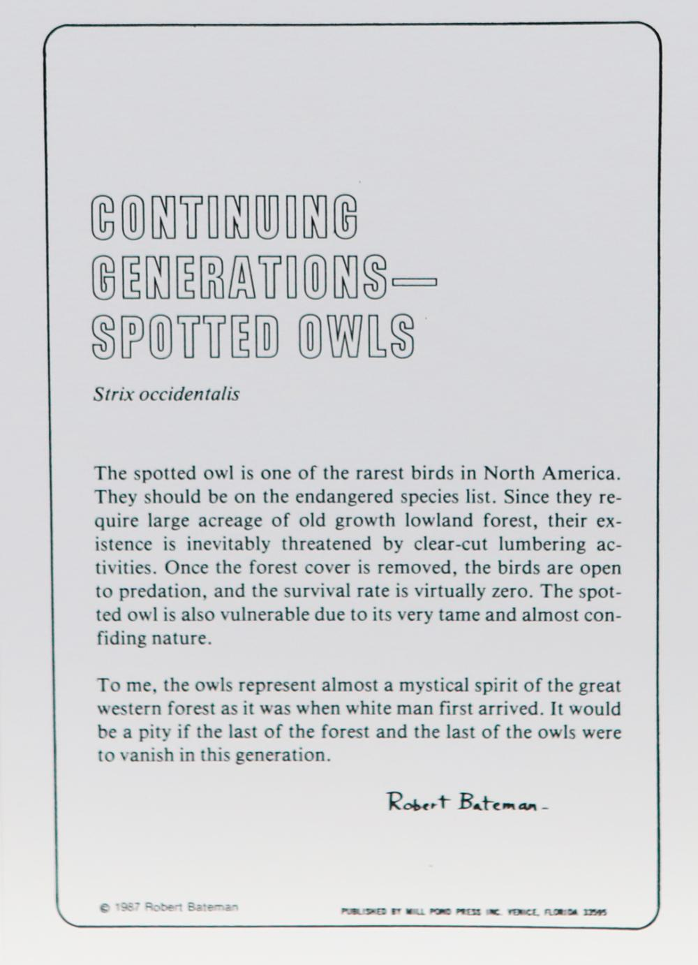 """Robert Bateman's """"Continuing Generations - Spotted Owl"""" Set of 2 Limited Edition Prints Signed and Numbered"""