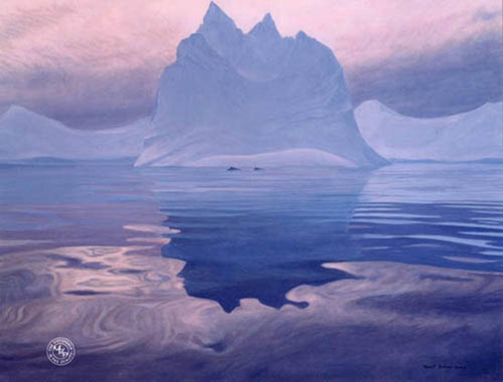 "Robert Bateman's ""Antarctic Evening - Humpback Whales"" Limited Edition Canvas Signed And Numbered"