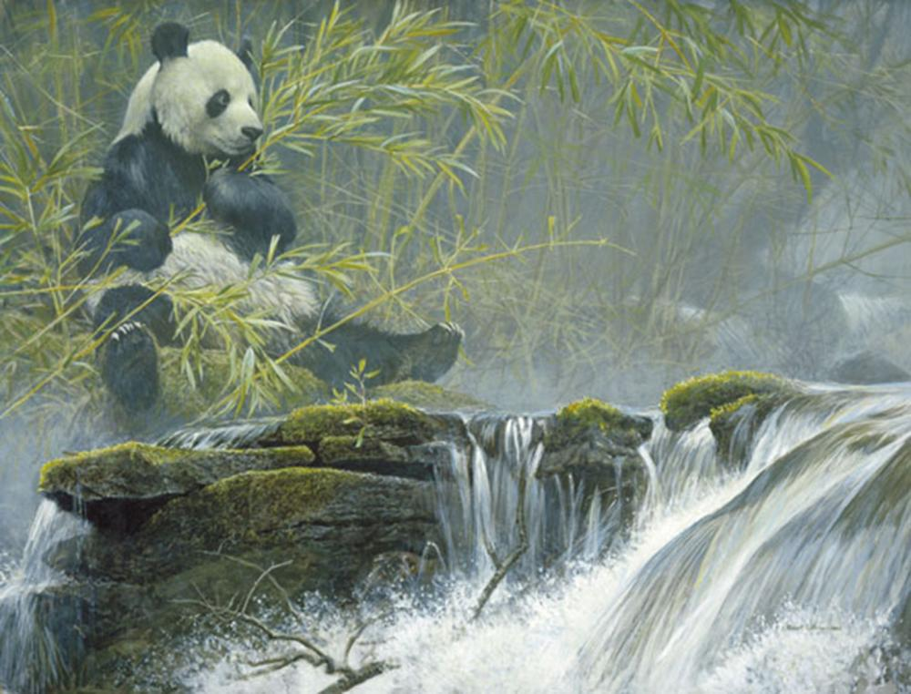 """Robert Bateman's """"Giant Panda"""" Limited Edition Canvas Signed And Numbered"""