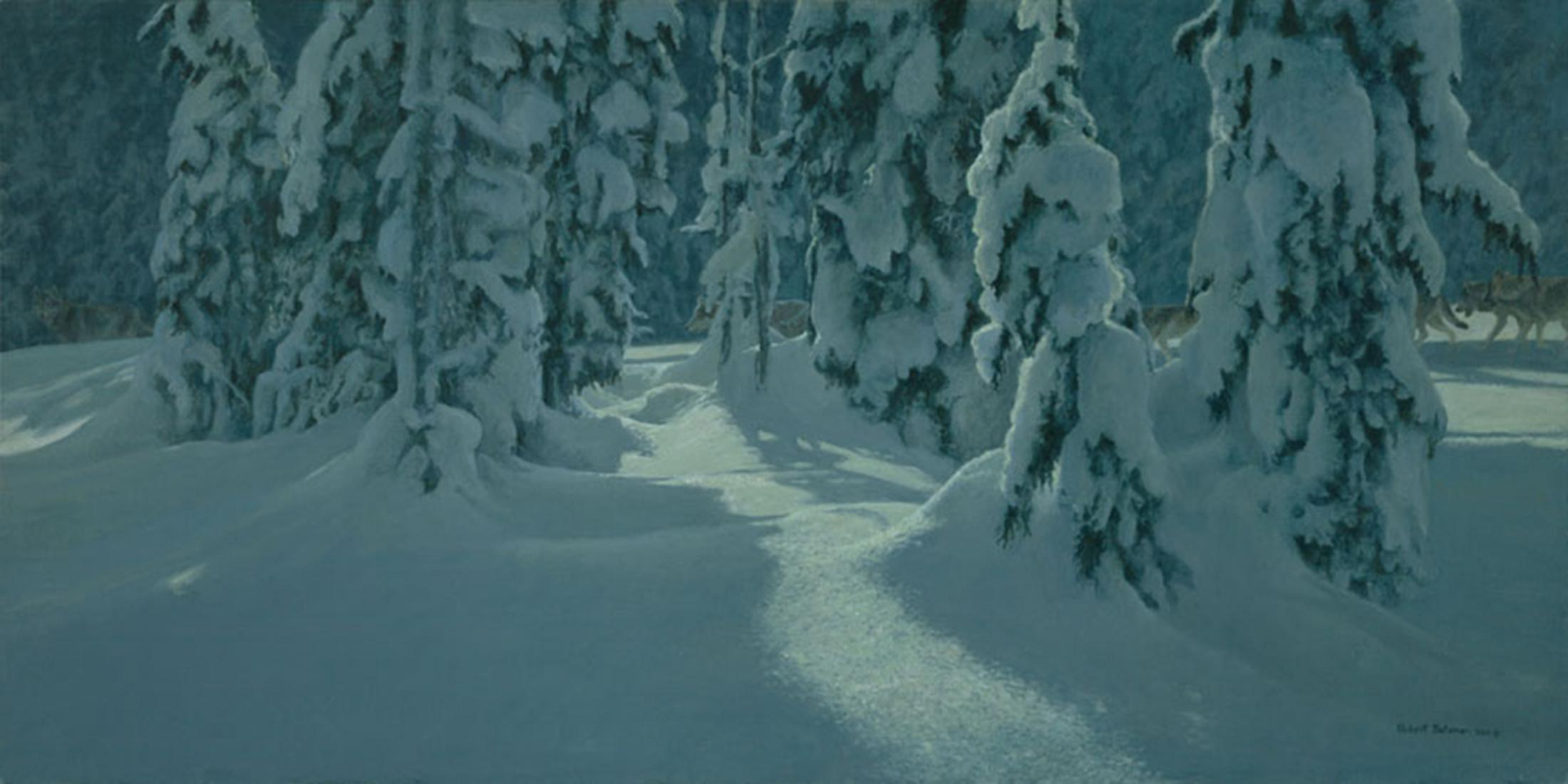 """Robert Bateman's """"Deep Winter - Wolves"""" Limited Edition Canvas Signed And Numbered"""