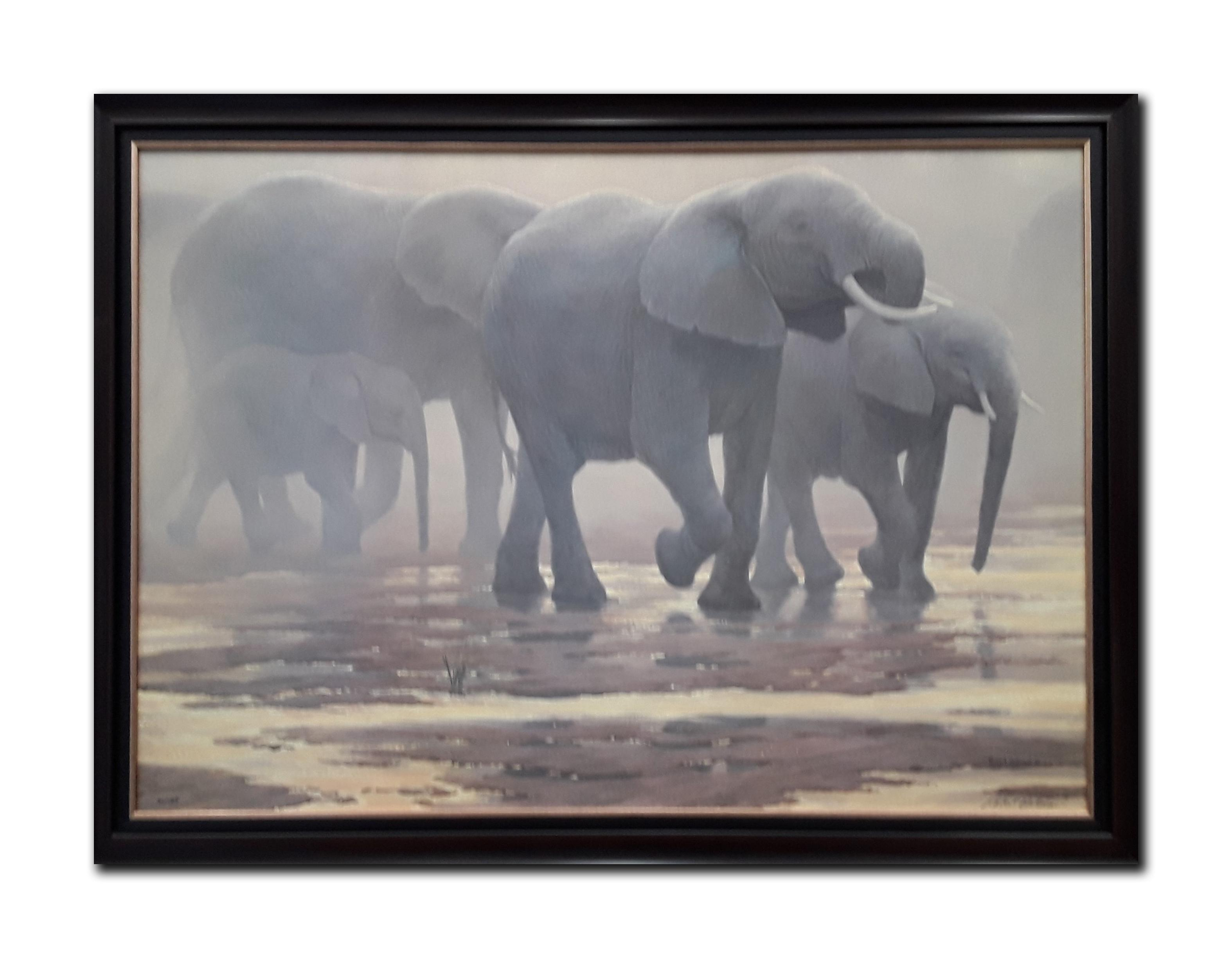 "Robert Bateman's ""By The River- Elephants"" Limited Edition Framed Canvas"
