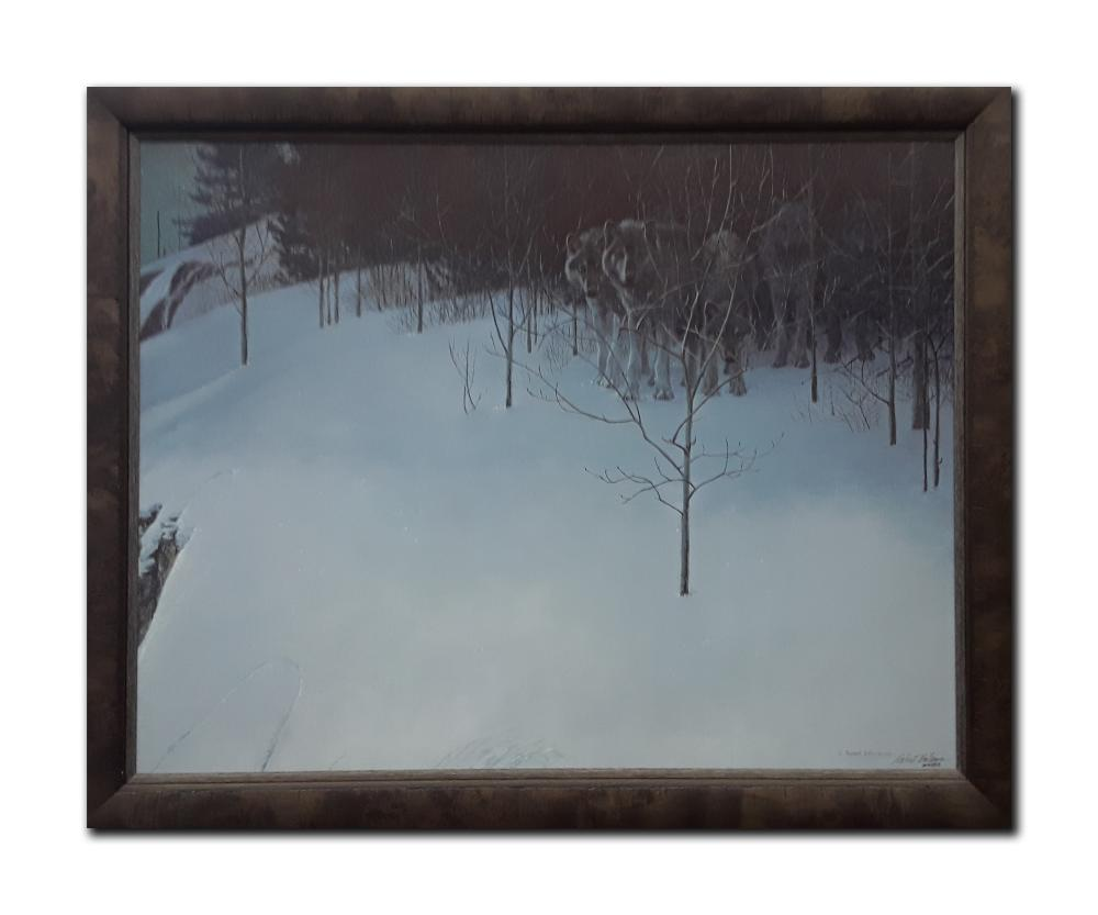 """Robert Bateman's """"Clear Night- Wolves"""" Limited Edition Framed Canvas"""