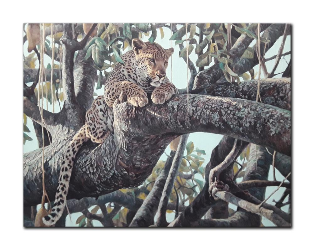 """Robert Bateman's """"Leopard In A Sausage Tree"""" Limited Edition Canvas"""