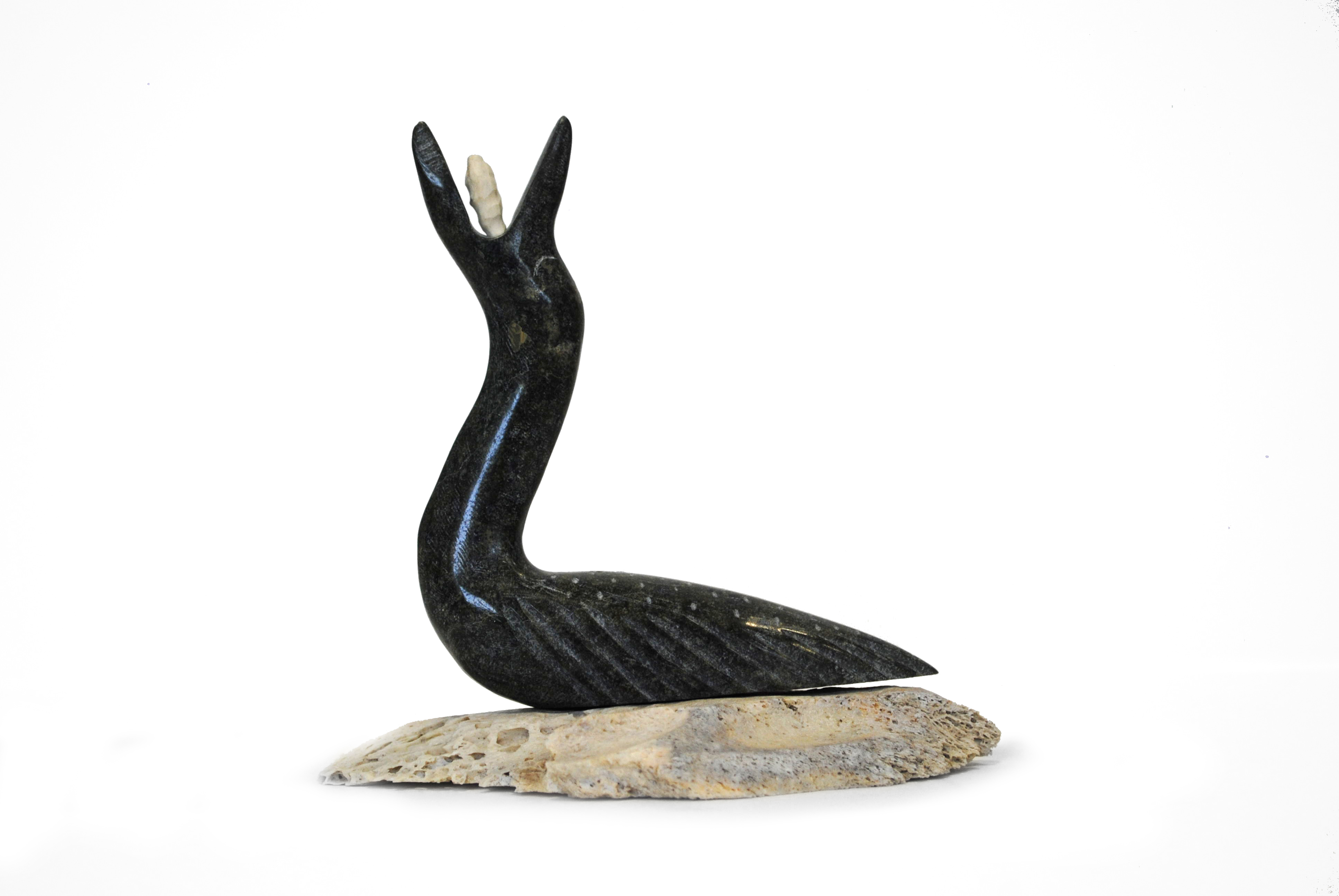 "Isaac Panigayak's ""Loon and Fish"" Sculpture"