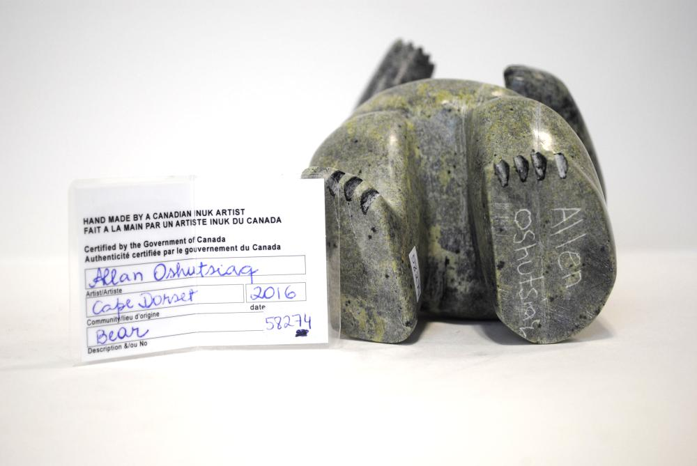 """Allan Oshutsiag's """"Bear"""" Sculpture"""