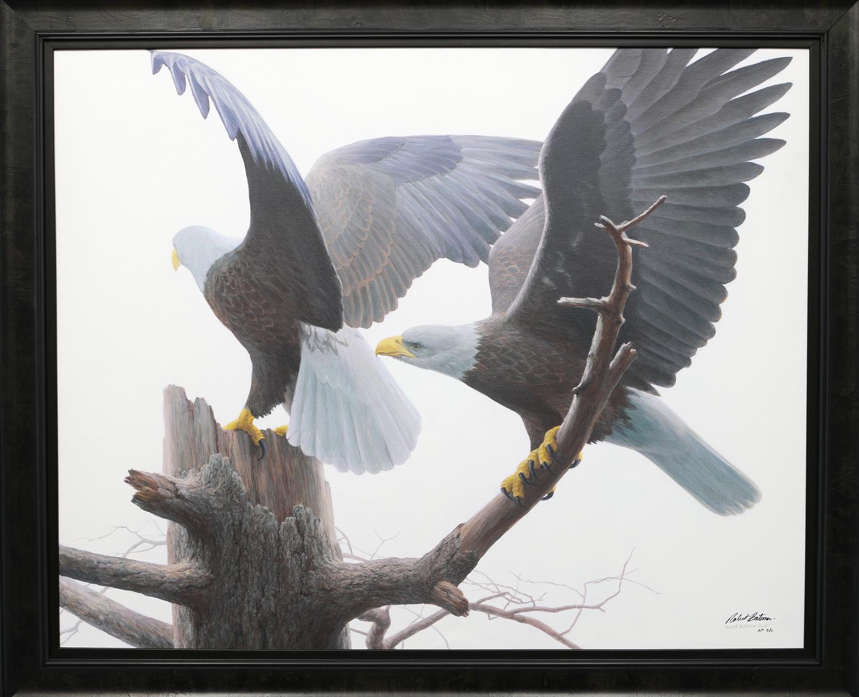 "Robert Bateman's ""Landings - Bald Eagles"" Limited Edition Framed Canvas Signed and Numbered"