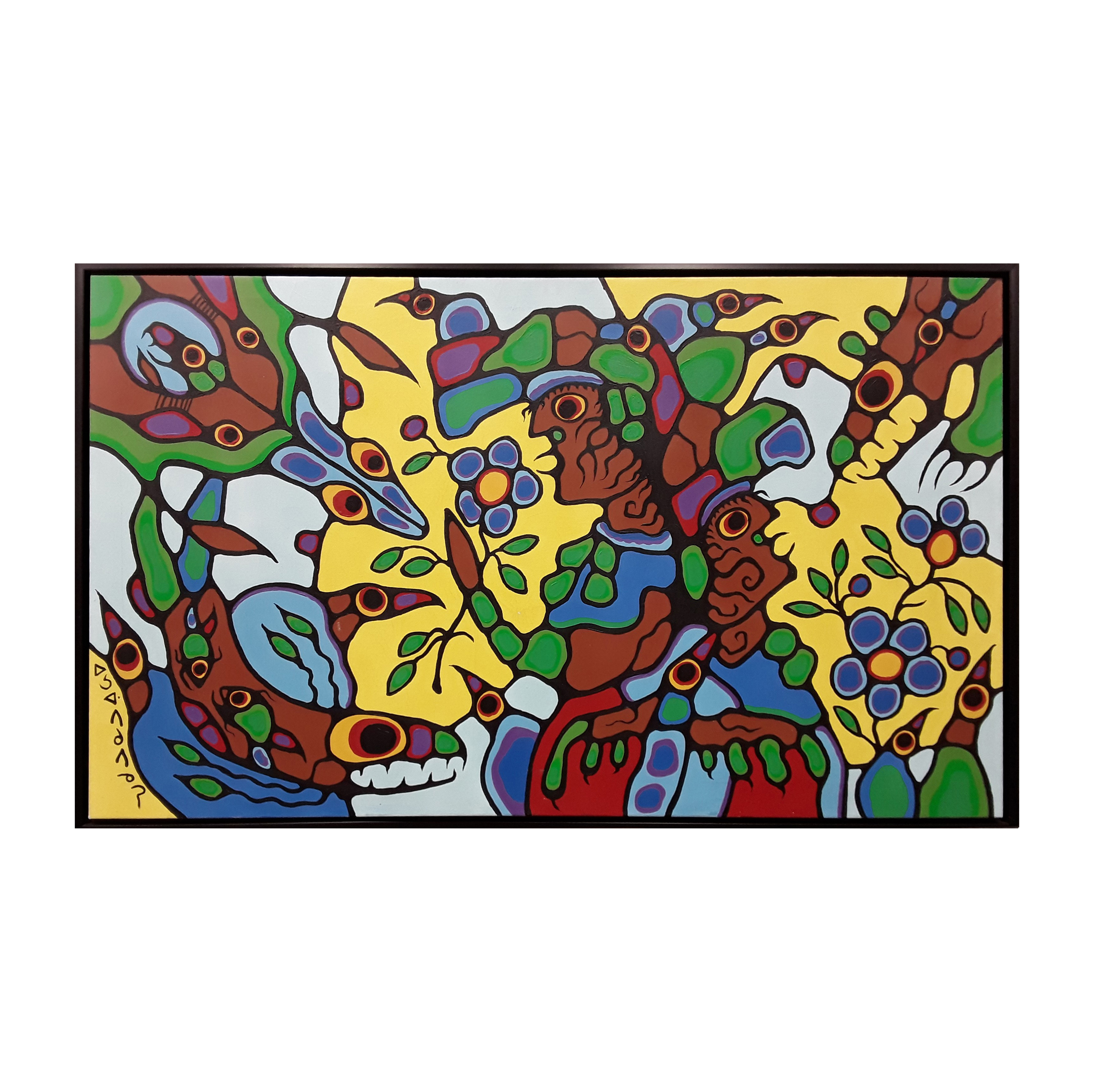"Norval Morrisseau's ""Remembering The Place Of Summer Harvest"" Original Acrylic on Canvas Framed Painting"