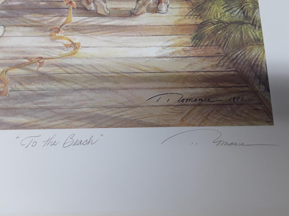 """Trisha Romance's Set of Three Limited Edition Prints """"Sea Treasures"""", """"First Mate"""", and """"To The Beach"""""""