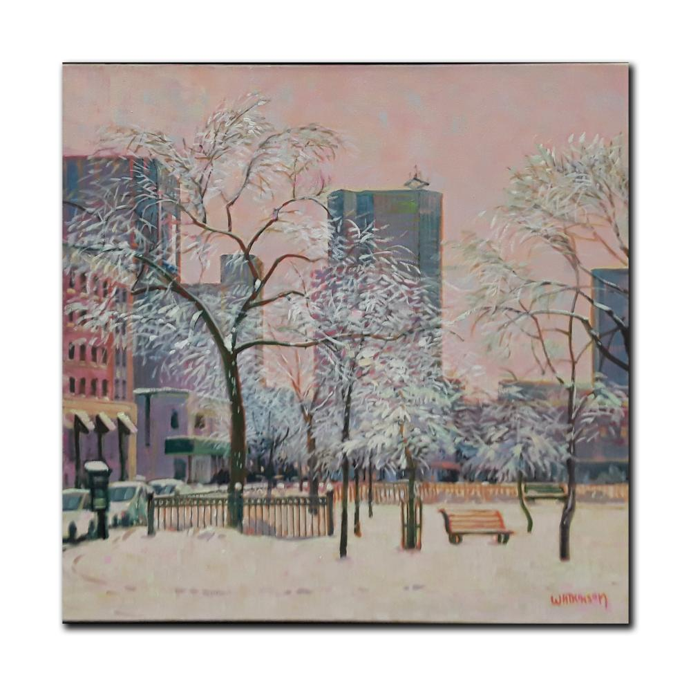 "Terry Watkinson's ""Winnipeg Parkette"" Original Oil on Canvas Framed Painting"