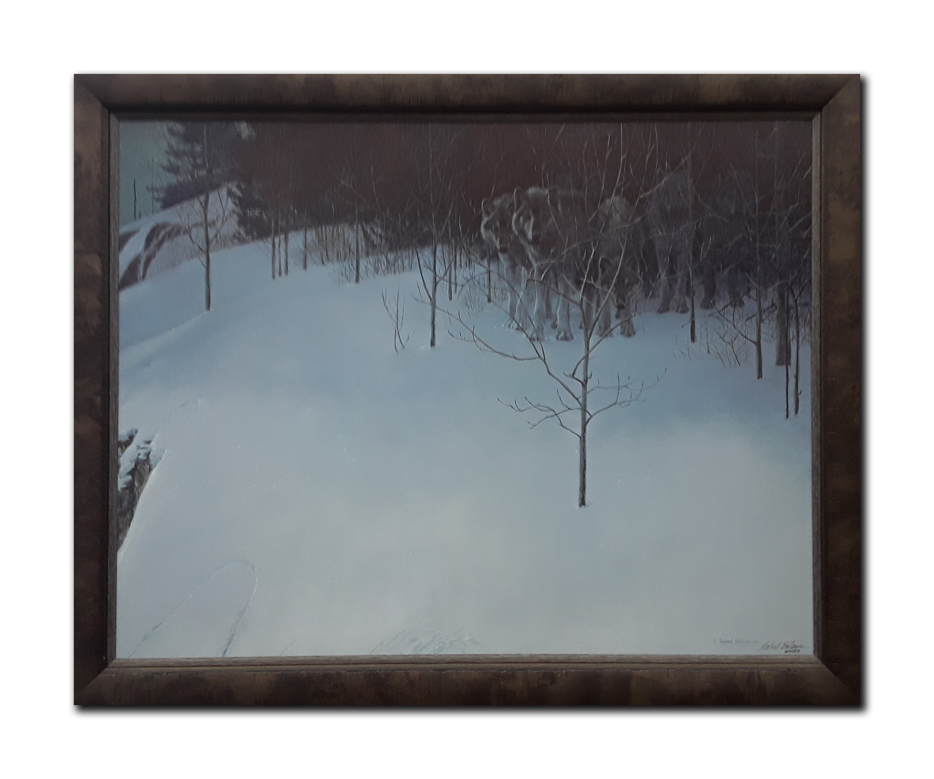 "Robert Bateman's ""Clear Night- Wolves"" Limited Edition Framed Canvas"