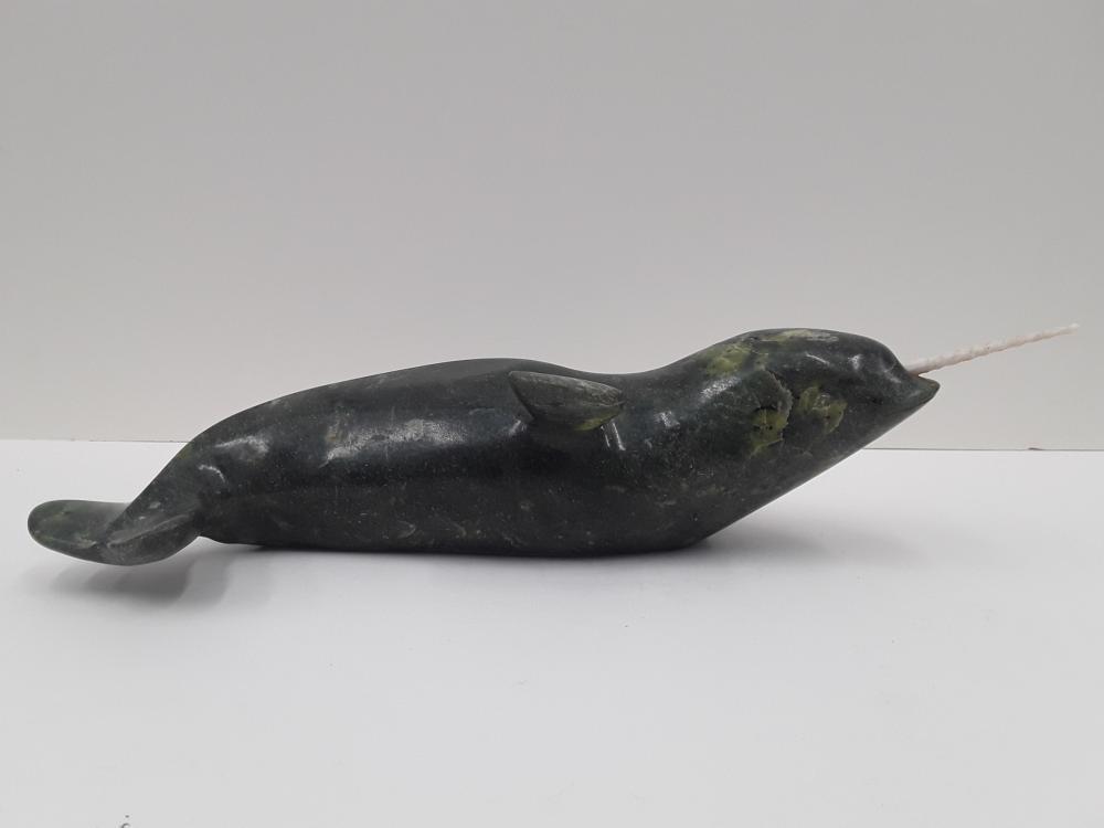 """Nuna Parr's """"Narwhal"""" Original Serpentine Sculpture"""