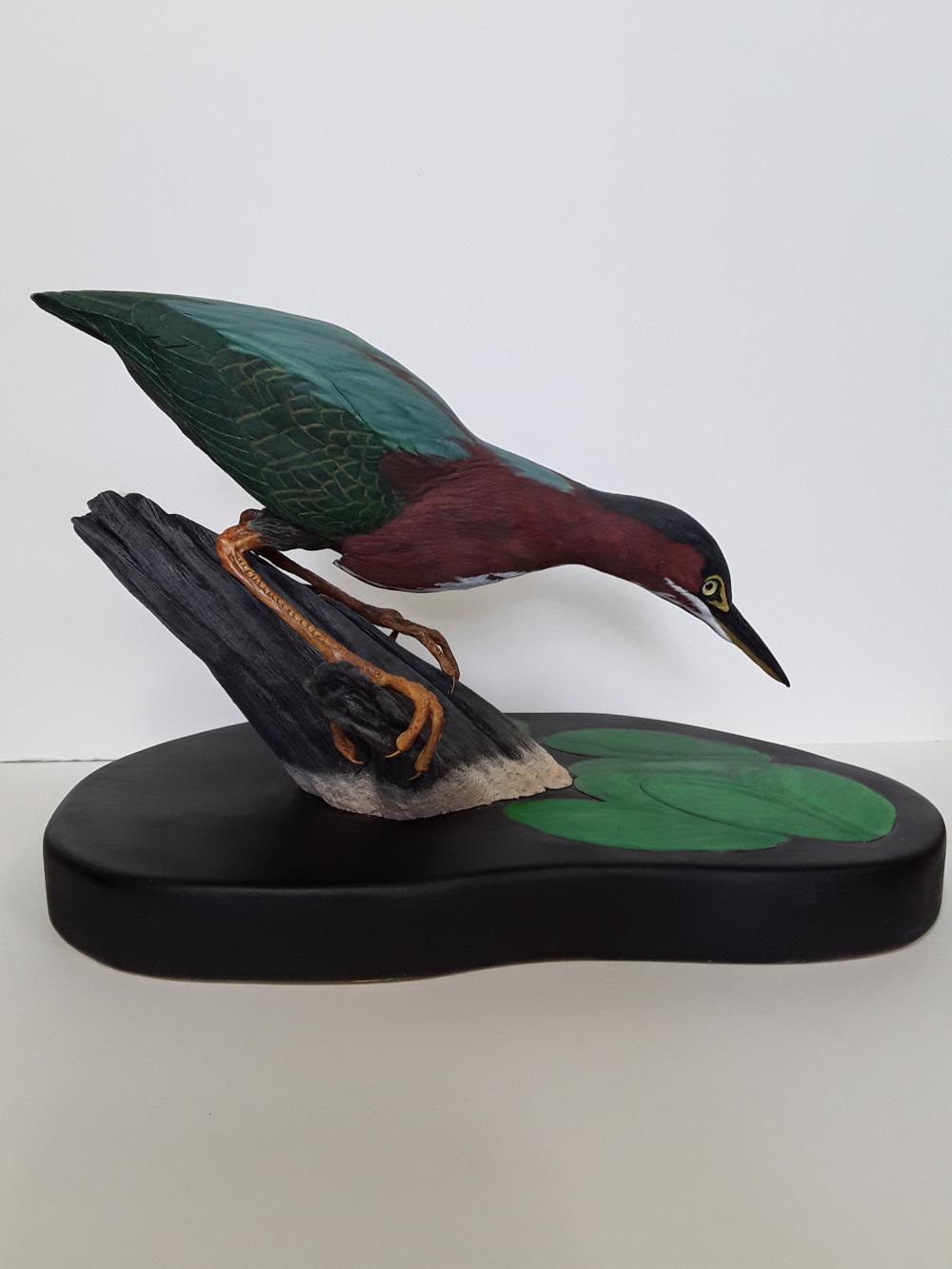 Tony Bendig's Green Herron Carving