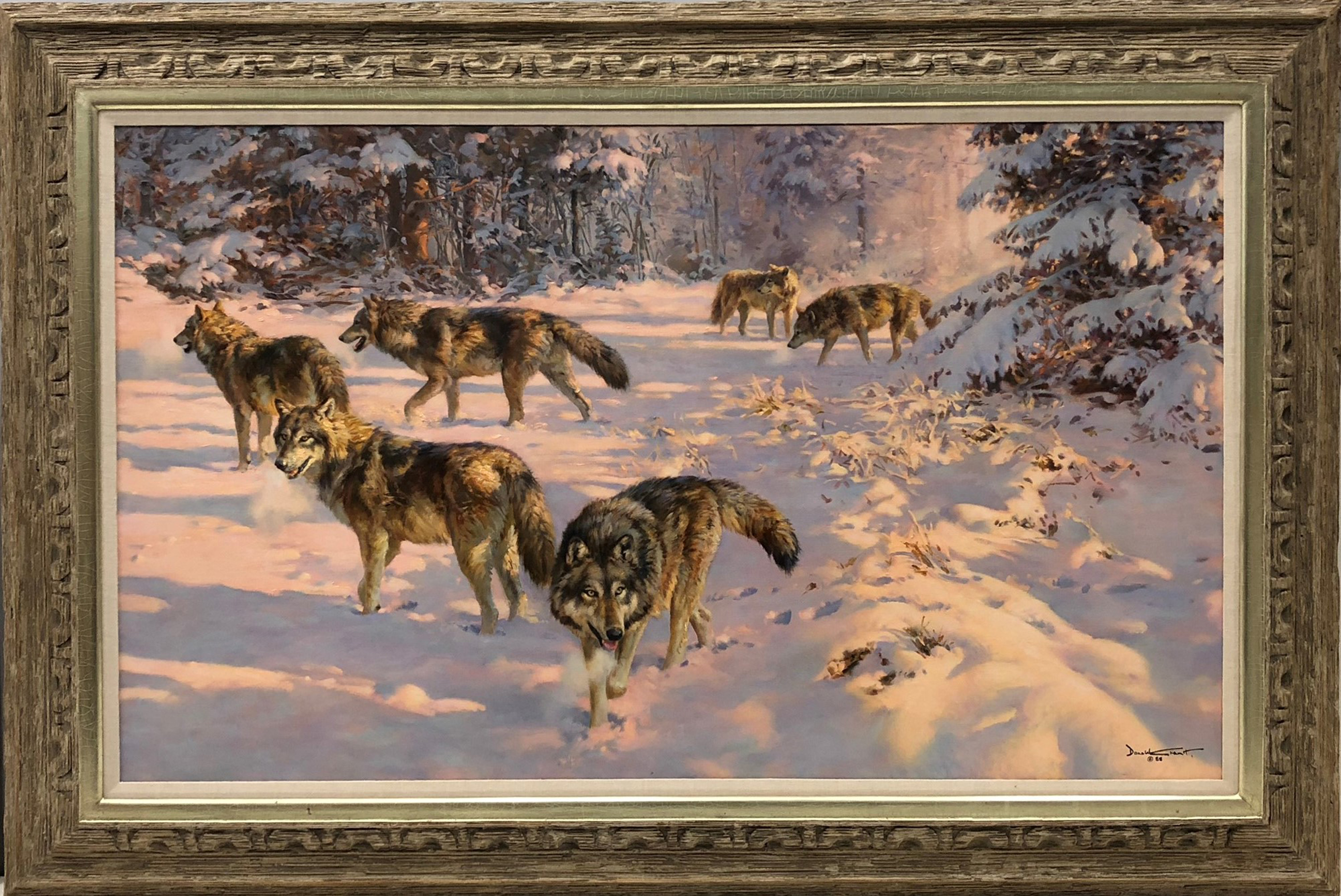 """Donald Grant's """"Evening Foray Wolves"""" Original Acrylic on Canvas Framed Painting"""