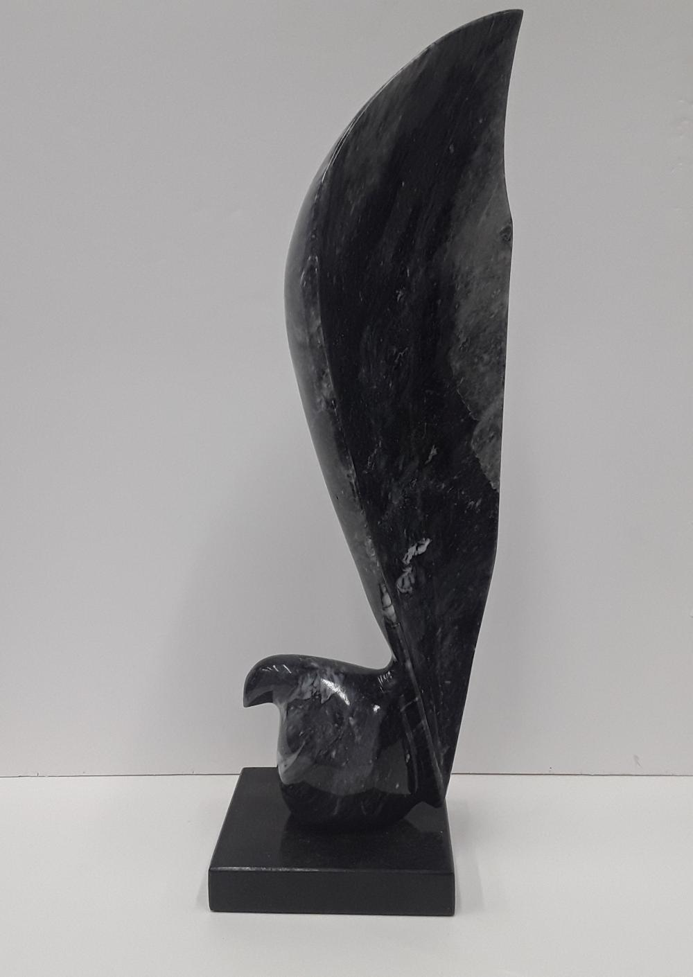 Original Bird With Long Tail Feather Marble Sculpture