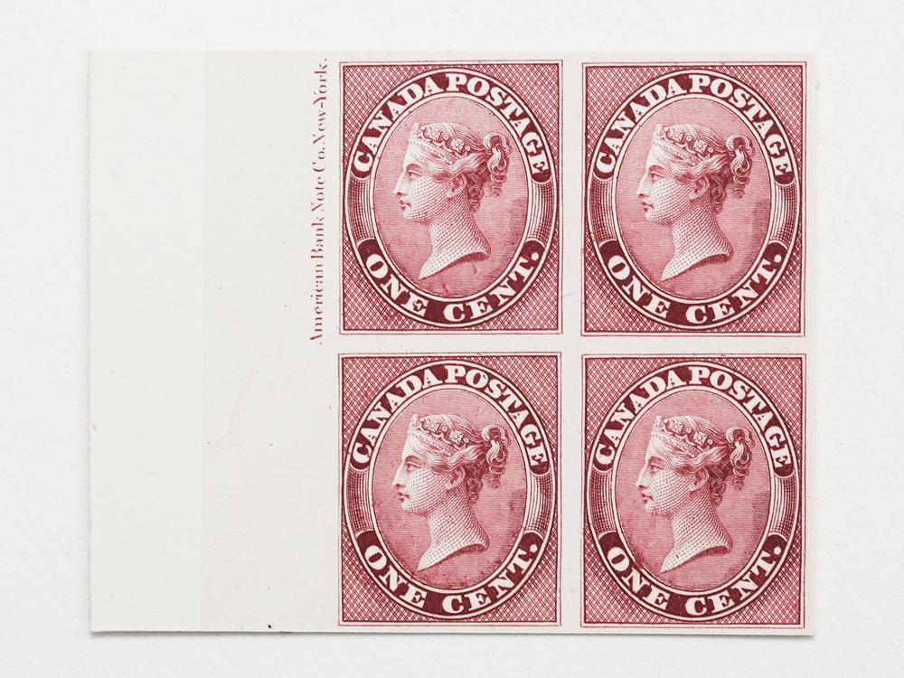 Canada- 1859-67 1c S/C #14P Rose MNH Block of 4