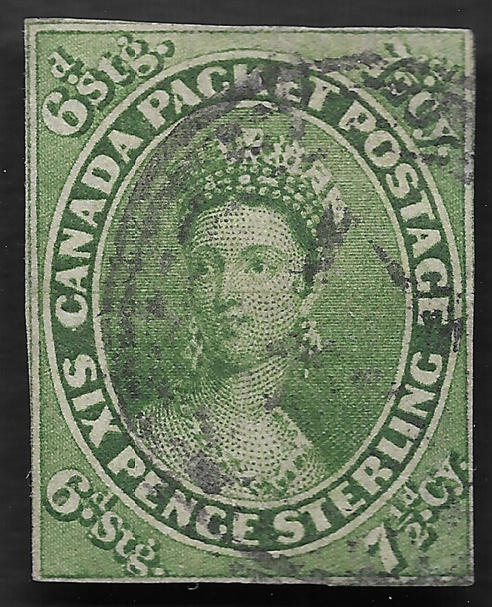 Province of Canada 1857 7 1/2d Green S/C #9 LH