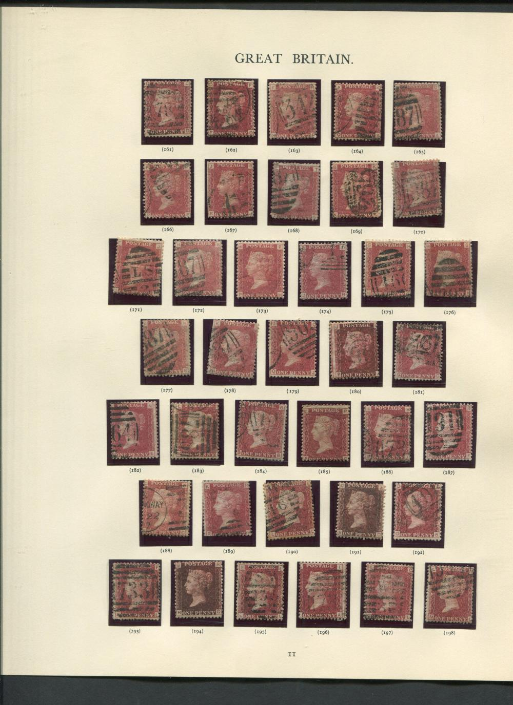 Great Britain 1864-79 Complete 1d Red Brown Plates