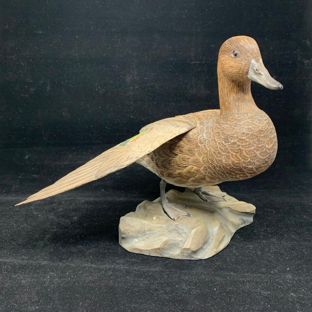 "Don Marion's ""Green Wing Teal Hen"" Original Hand Carved Duck Decoy"