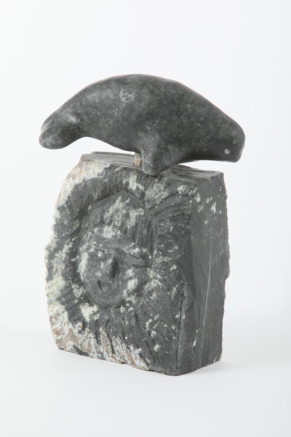 """Lucas Aaluk's """"Norwhale with Head on Base"""" Original Inuit Sculpture"""