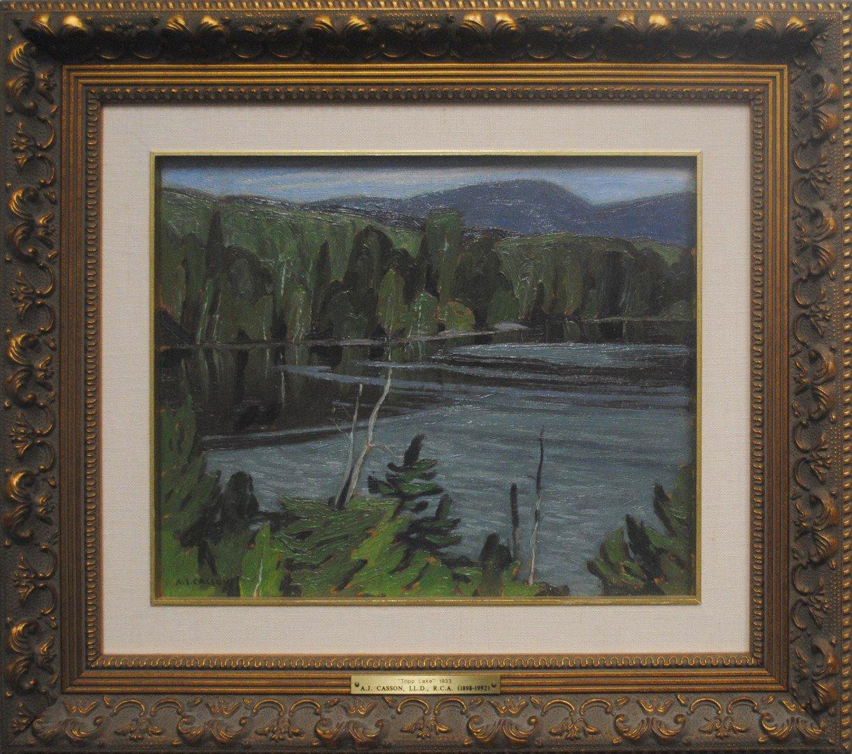 "AJ Casson's ""Tripp Lake"" Framed Original Painting"