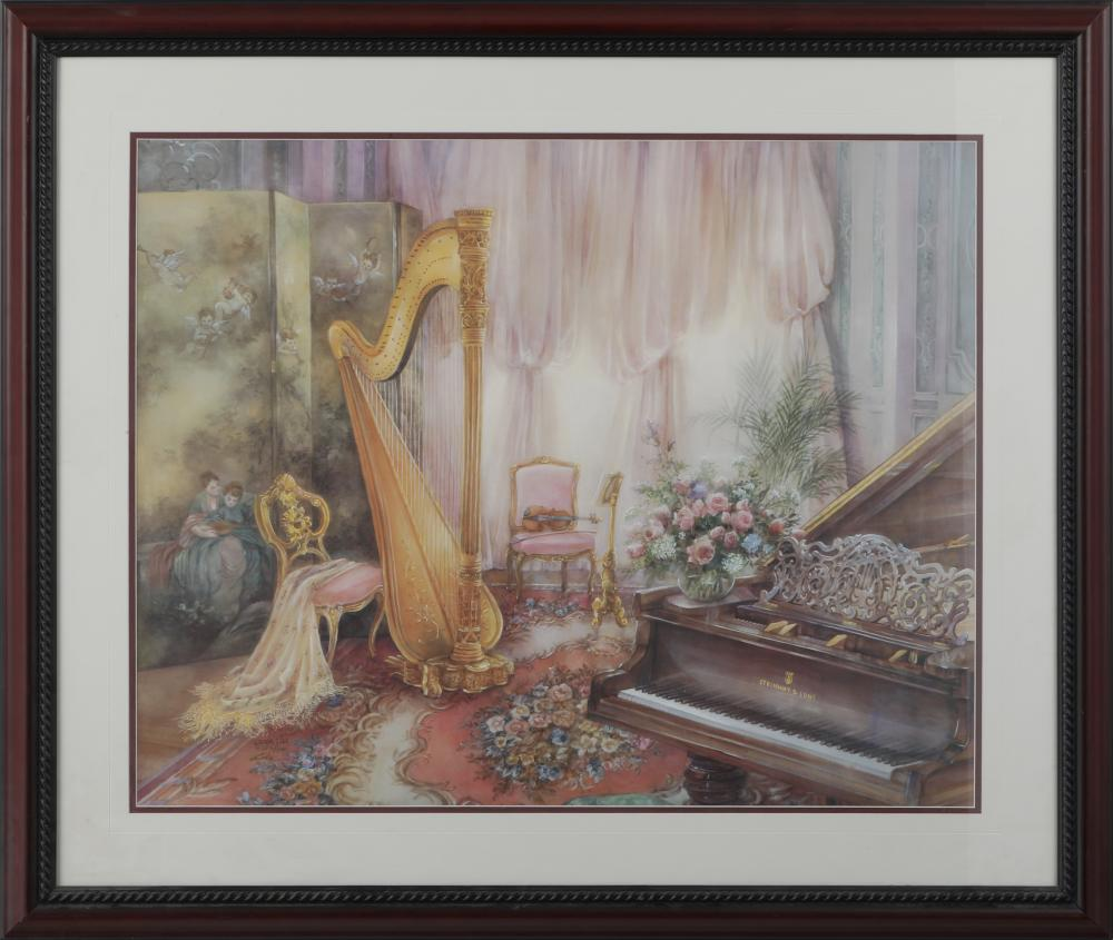 "Lena Lui's ""Music Room VI ,Romantic Overture"" Framed Limited Edition Print"