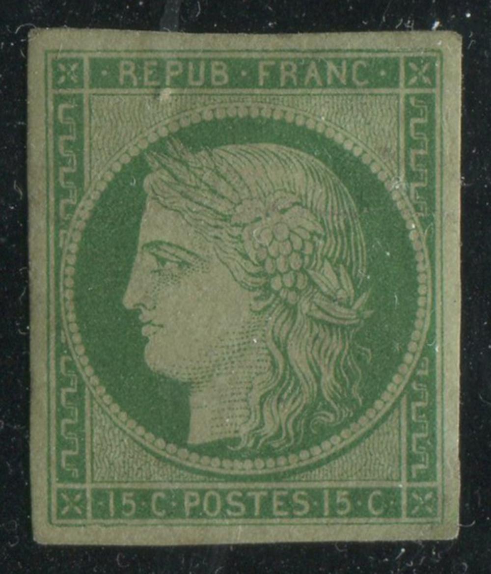 France 1849-50 #2 15c Green Greenish VF MLH