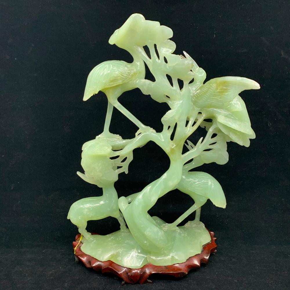 "Hand Carved Jade ""Family of Storks"" Sculpture"