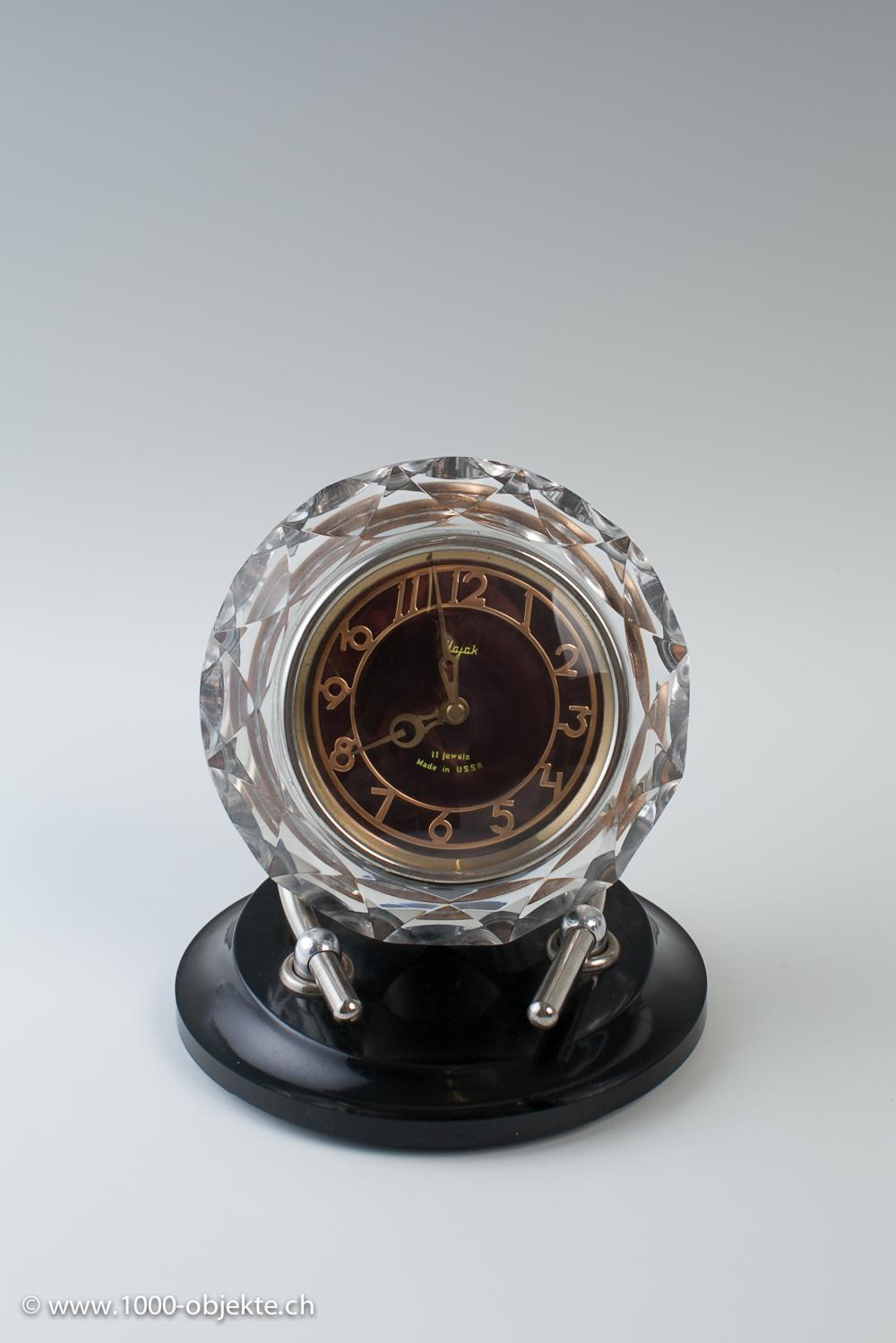 1 Russian Table Clock MAJAK   Real Glass   1970s, 1 Swiss Table Clock 50u0027s