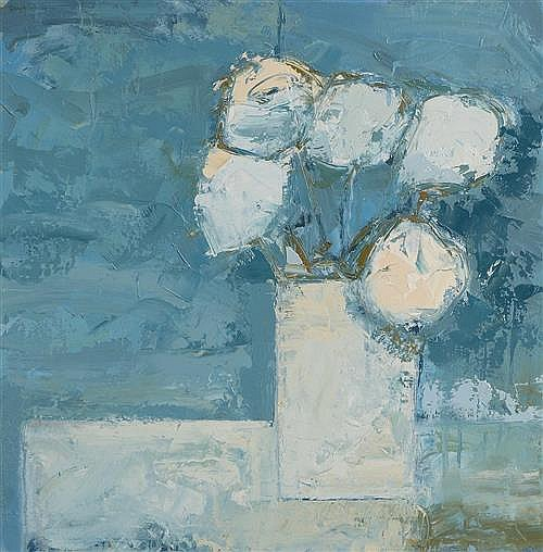 Paul Donaghy (b.1964) White Bouquet on Blue