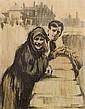 William Conor RHA RUA ROI (1881-1968) Courtin on the Bridge
