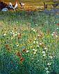 Kenneth Webb RWA FRSA RUA (b.1927) Cockerals in the Meadow