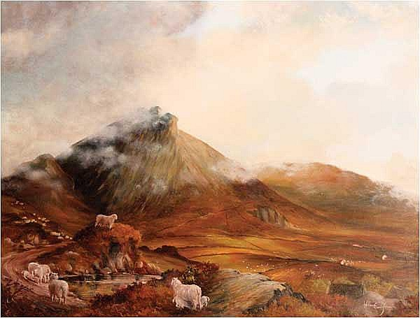 William Cunningham (b.1946) Sheep in the Mournes