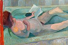 Colin Middleton RUA RHA (1910-1983) Girl Reading in the Bath (1947)