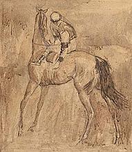 Basil Blackshaw HRHA RUA (1932-2016) Jockey Adjusting the Girth