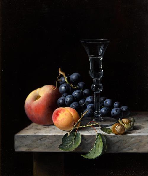 Brian Davies (1942-2014) British Still Life - Glass, Fruit & Nuts