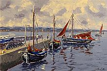 Ivan Sutton (b.1944) Galway Hookers at Carraroe Pier, Co Galway