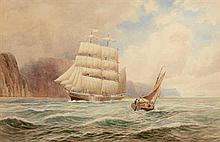 Joseph William Carey RUA (1859-1937) Sailing off the Gobbins, Belfast