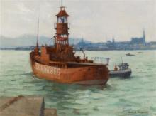 James English ARHA (b.1946) Servicing the Lightship, Dun Laoghaire