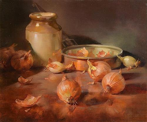 Owen Rohu (b.1966) Still Life, Onions and Pots