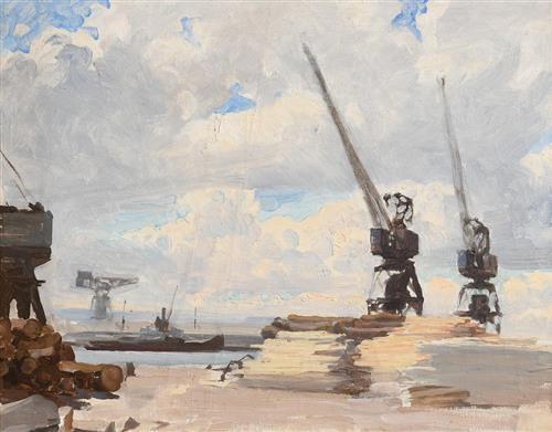 Dermod O'Brien PRHA (1865-1945) Dublin Docks