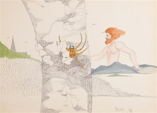 Pauline Bewick RHA (b.1935) Luke Kelly and Spider (1993)