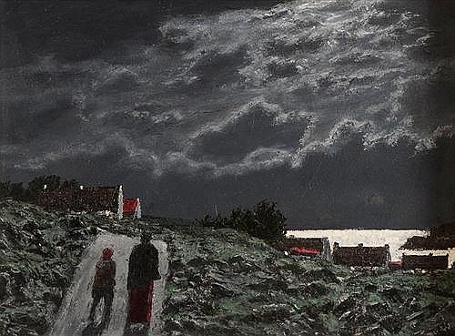 Ciaran Clear (1920-2000) Home by Moonlight