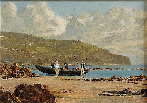 Ciaran Clear (20th/21st Century) Beaching a Currach