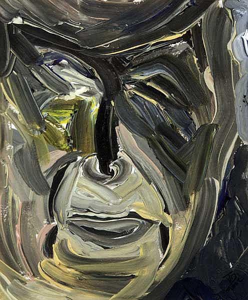 John Desmond (b.1950): Face Study oil on paper