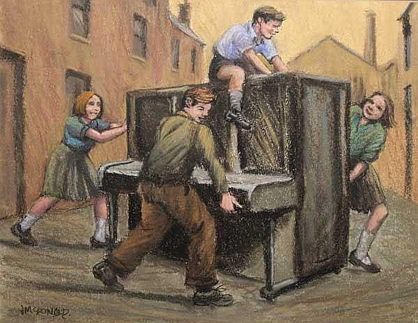 James McDonald (b.1939): Piano Movers pastel