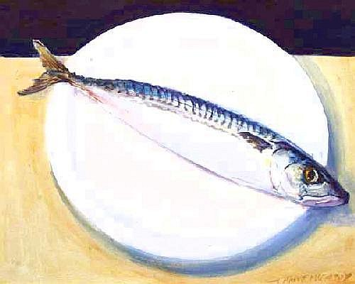 Maeve McCarthy RHA (b.1964) Mackerel on White oil